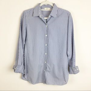 Celine Blue & White Stripe Button Down Top Size 44